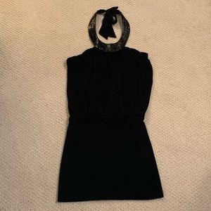 Black Halo Black Halter Mini Dress